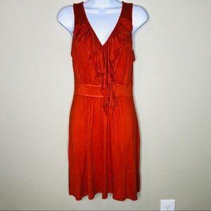 Pink Rose Burnt Orange V Neck Ruffle Front Dress